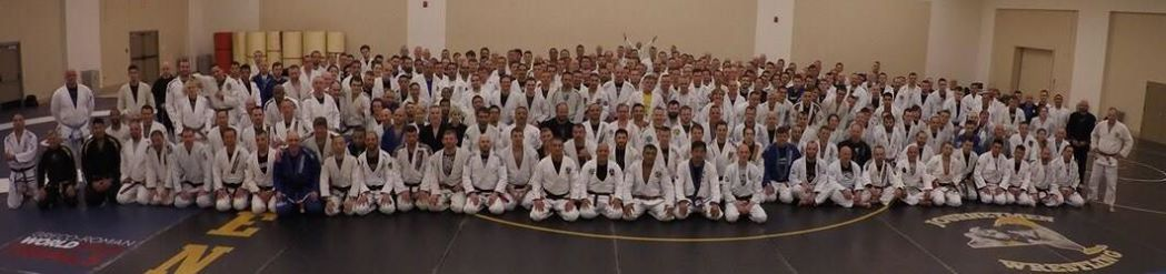 Group Team Photo Self Defense seminar with Jiu Jitsu legend Rickson Gracie