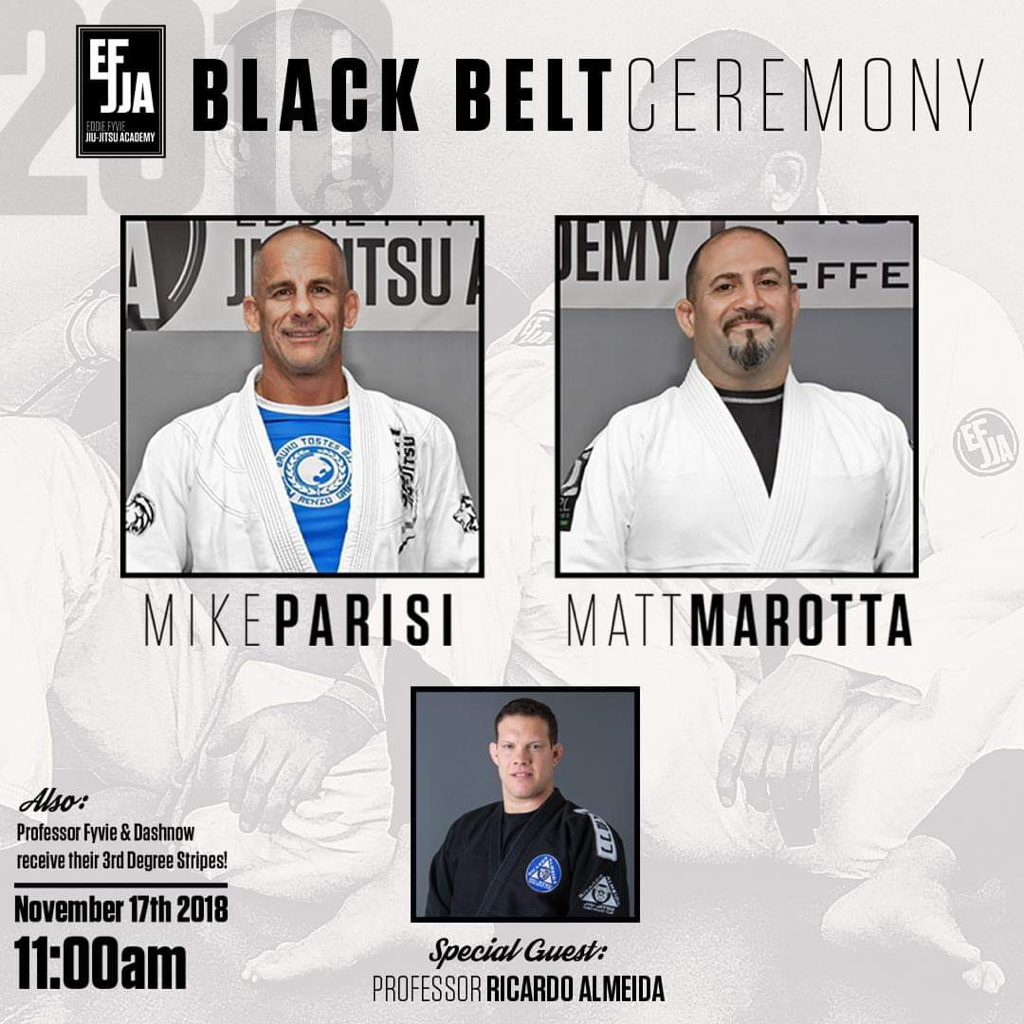 Mike Parisi Matt Marotta Eddie Fyvie Ricardo Almeida Brazilian Jiu-Jitsu Black Belt Ceremony MMA Self-Defense Martial Arts Classes in Malta NY